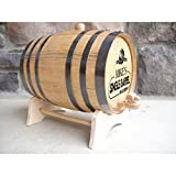 Personalized Oak Barrel, Spirits Aging Barrel Dispenser, Wine Barrel Design: Grapevine/Wine & Spirits, 2 Liter