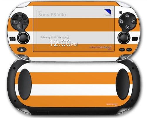 Sony PS Vita Skin Kearas Psycho Stripes Orange and White by WraptorSkinz