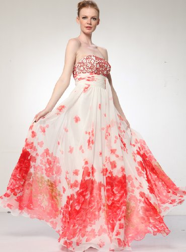 HK9196 PRINT CHIFFON STRAPLESS EMBROIDERY BEAD LONG GOWN