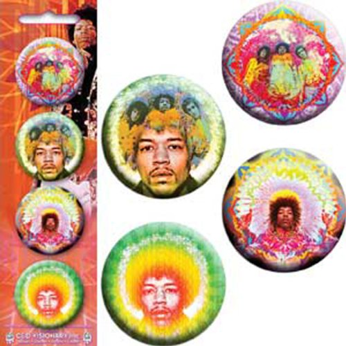 "Licenses Products Jimi Hendrix-Kaileidoscope-Mastermind C/U-Electric Daisy-Green Flower 1.25"" Button Set, 4-Piece"