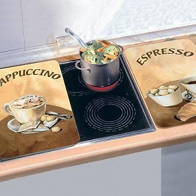 """Abdeckplatten """"Cafe"""" für den Herd aus Glas Bunt L52 x B30 cm 2 Stück von PureDay - Gartenmöbel von Du und Dein Garten"""