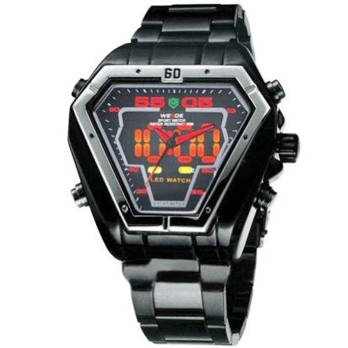 Weide Analog-Digital Red Hands In Triangle Dial, Silver Bezel, Men Wrist Watch