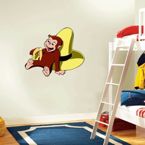 Curious george wall decals 2017 grasscloth wallpaper for Curious george mural