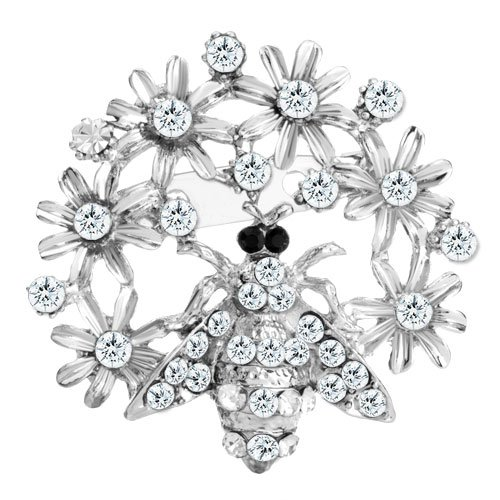 Pugster Inspired Elegant White Bouquet Flower Basket Clear Swarovski Crystal Bridal Corsage Brooches Pins For Holiday Gifts