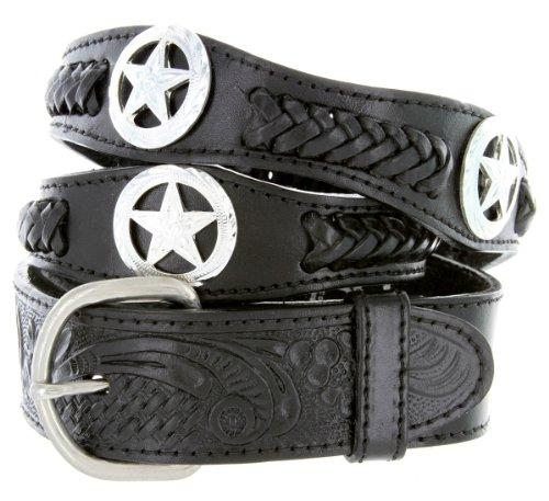 Mens Western Ranger Star Badge Concho Braided Genuine Leather Cowboy Belt (42 Black)