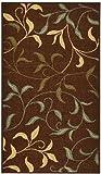 Rubber Back Chocolate Brown Floral Garden Non-Slip (Non-Skid) Door Mat Rug 18