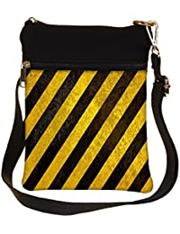 Snoogg Yellow Strips Design Cross Body Tote Bag / Shoulder Sling Carry Bag