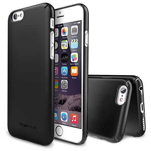 """iPhone 6 Case, Ringke SLIM **Essential Ultra Thin**[1 FREE HD Screen Protector][SF BLACK] Perfect Fit & Scratch-Resistant Dual Coating Lightweight Hard Case for Apple iPhone 6 4.7"""" (2014)"""