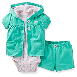 Carter\'s 3 Piece Cardigan & Shorts Set (Baby) - Whale-12 Months