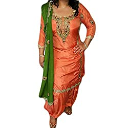 Reet Glamour Women 's Silk Unstitched Orange Embroidered Punjabi Suit