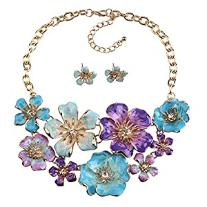 Holylove Purple Blue 3D Colorful Flower Pendant Statement Maxi Statement Necklace Earrings Jewelry Set-HLSJ1112