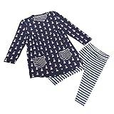 Internet Kids Girls Toddler Clothes Set Bunny Shirt Dress+Leggings (1 year, Navy)