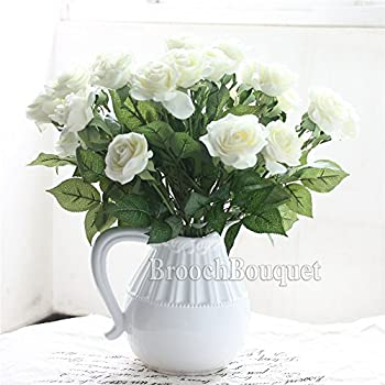 Lovemat 12 PCS Real Touch Latex PU Roses Artificial Flowers for Wedding Home Decor (white)