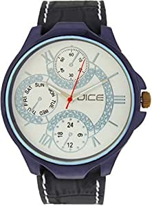 "Dice ""Aura 1506"" Casual Round Shaped Chrono Dial Face Wrist Watch For Men. Fitted with Beautiful White Color Dial and Anti Allergic Leather Strap"