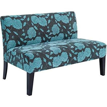 Blue Contemporary Floral Pattern Loveseat Settee Sofa for 2   Perfect Upholstered Couch Furniture for Your Home Living Room Space   Simple, Relaxing Seating Solution in Vibrant Pattern That Adds Comfort and Style for Modern Decor Design Accent Piece