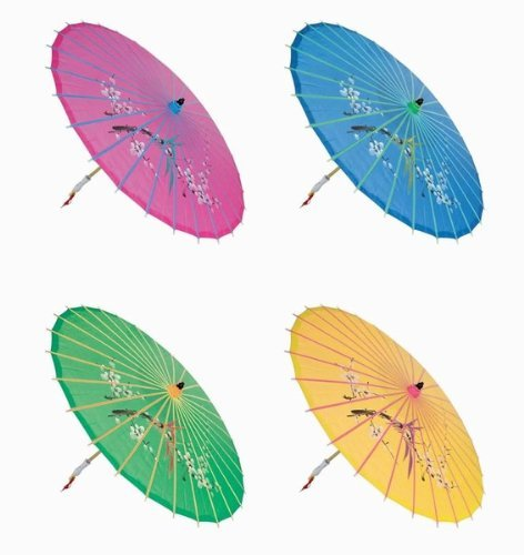 Assortment or six (6) 30 Large Asian Silk Umbrella / Parasol