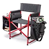 Picnic Time Fusion Folding Chair, Gray with Red Frame