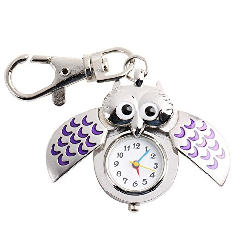 Chicone Vintage Owl Pocket Keychain Stainless Steel Quartz Watch for Boys Girls (Stainless Steel Owl Ring compare prices)