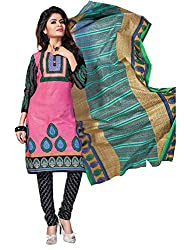 Aarti Apparels Women's Cotton Unstitched Dress Material_BeautyQueen-18_Pink and Black