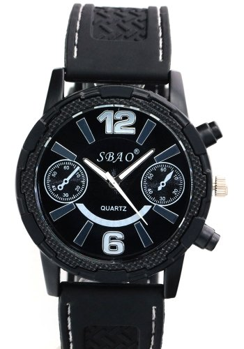 Image of SBAO Mens Fashion Decoration Subdial Black Bezel Water Resistant Quartz Sports Watches