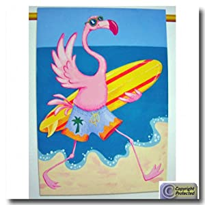 Tropical Pink Flamingo Surfer Surfing Standard Flag Banner