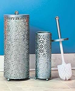 decorative elegant style 2 pc silver toilet paper holder toilet brush holder set. Black Bedroom Furniture Sets. Home Design Ideas