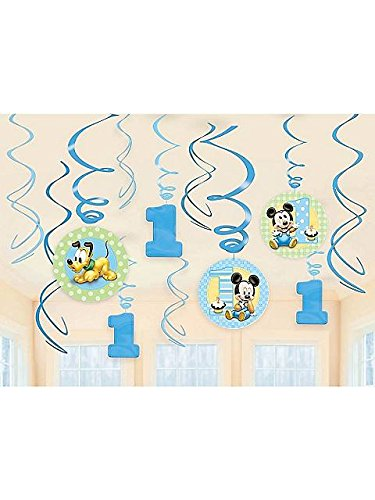 12-Piece Mickey'S 1St Birthday Swirl Decorations, Multicolored front-338962