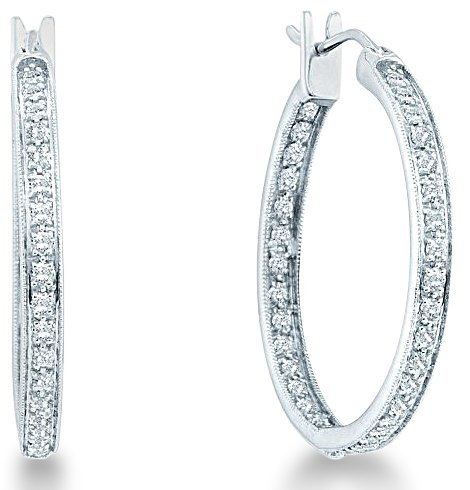0b21c70fa 14k White Gold Two Double Sided Back and Front Round Diamond Hoop Earrings  - 29mm Height * 3mm Width (1.0 cttw, H Color, I1 Clarity) Features