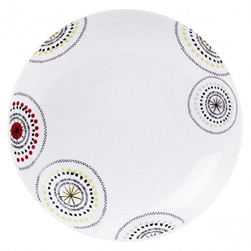 Guy Degrenne 201586 Modulo Kiwi Lot de 6 Assiettes Creuse Calotte Porcelaine Rouge/Noir/Vert/Brun 20 x 20 x 3,6 cm