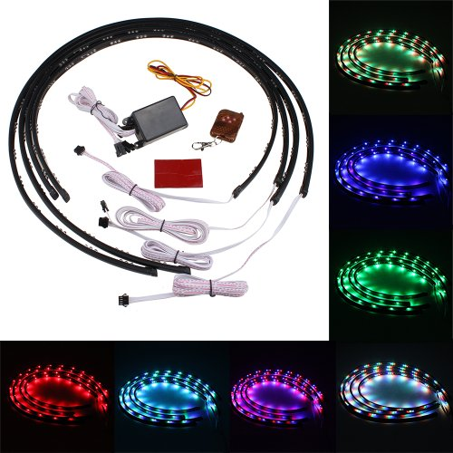 "Image® 7 Color 4Pcs Led Under Auto Car Underglow System Neon Lights Kit Strip With Wireless Remote Control 2 X 24"" & 2 X 36"""