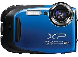 Fujifilm FinePix XP75/XP70-BLUE Waterproof 16.4MP Digital Camera with Full HD Video Movies, Wi-Fi, 3D Panorama, Shockproof Freezeproof Dust/Sandproof,16M CMOS Sensor & 5x Optical Zoom Lens (Blue)