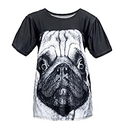 Women's Mens Unisex T-shirt All Over Print Jersey Funky Top Party Summer Clubbing Jersey Bandana Pug Fashion