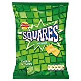 Walkers Squares Crunchy Cheese & Onion Flavour Potato Snack 27.5g (Pack of 48)