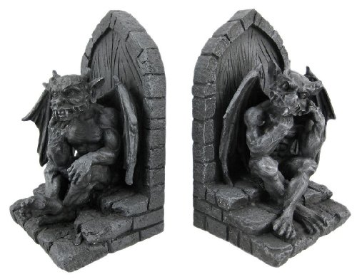 Gothic gargoyle bookends stone finish dragon book ends home garden decor - Gothic bookends ...