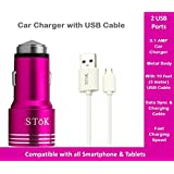 SToK 3.1 Amp Output With 2 USB Port Compatible Certified Car Charger For Apple IPhone, Samsung, Micromax, HTC,...
