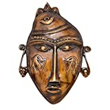 Two Moustaches Brass Tribal Man Mask Wall Hanging Golden