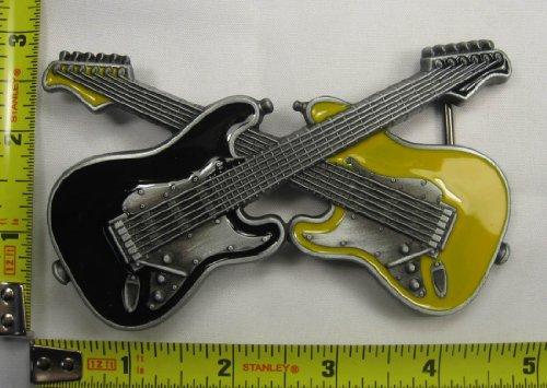 Crossed Electric Guitars Metal Belt Buckle Black & Yellow New