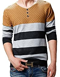 Wantdo Men\'s Button-Down Collar Patchwork Knitted Sweater Yellow Small/Tag 2XL,Yellow,US Small,Asian size XXL