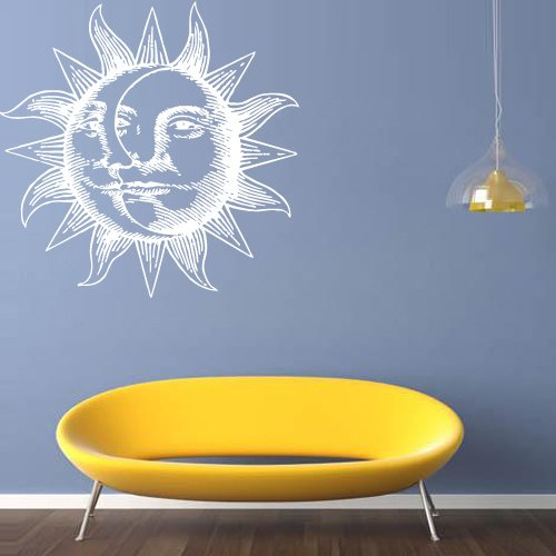 Wall Decal Decor Decals Sticker Art Vnyl Design Mural Sun Crescent Dual Ethnical Symbol Moon Sky Month Bedroom Night Day Light Cloud (M1272) front-607785