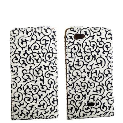 Flip Style Case Handy Tasche für Sony Xperia J / ST26i WEISS SCHWARZ Schutz Hülle mit Blumen Flower Design Leder Etui Cover Gehäuse Neu