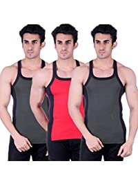 Zimfit Gym Vest - Pack Of 3 (Green_Red_Green) - B01AO0LYH8