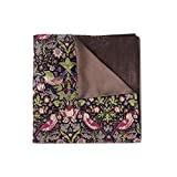 Brown and Green Forest Birds Cotton Print Double-faced Reversible Pocket Square Handkerchief Hanky