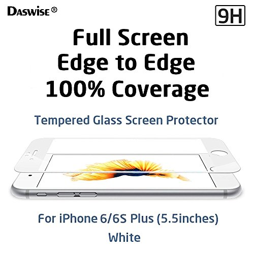 iPhone 6s Plus Screen Protector, iPhone 6 Plus Screen Protector, Daswise 2015 Full Screen Anti-scratch Tempered Glass Protectors with Curved Edge, Cover Edge-to-Edge, Protect Your 5.5 Inches Silver/Gold/Rose Gold iPhone 6/6S Plus Screens from Drops & Impacts, HD Clear, Bubble-free Shockproof [3D Touch Compatible] (5.5 White)