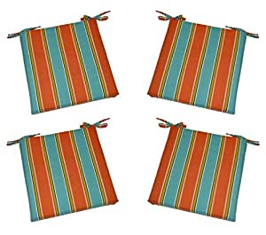 Set of 4 indoor outdoor orange turquoise blue kiwi green stripe universal 3 - Orange kitchen chair cushions ...