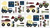 Construction Wall Decal Stickers by Sweet Jojo Designs - Set of 4 Sheets