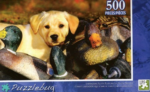Labrador Puppy Playing in Duck Decoys - Puzzlebug - 500 Pc Jigsaw Puzzle - NEW - 1
