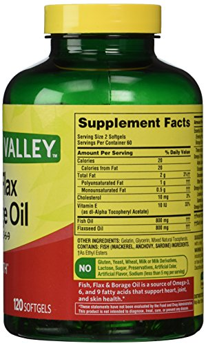 Spring valley fish flaxseed borage oil omega 3 6 9 for Flaxseed or fish oil