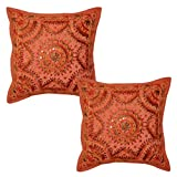 Home Decor Traditional Embroidery & Mirror Work Design Cushion Cover 16x16 Inches Set Of 2 Pcs