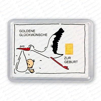 """Goldbarren 1g 1 Gramm Motivbox """" Zur Geburt """" Gold Barren + Zertifikat von Securina24"""
