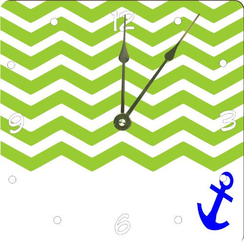 "Rikki Knighttm 3D Chevron Green On White With Anchor Design 13"" Art Wall Clock front-608518"